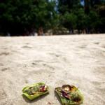 Offerings on Kuta beach.